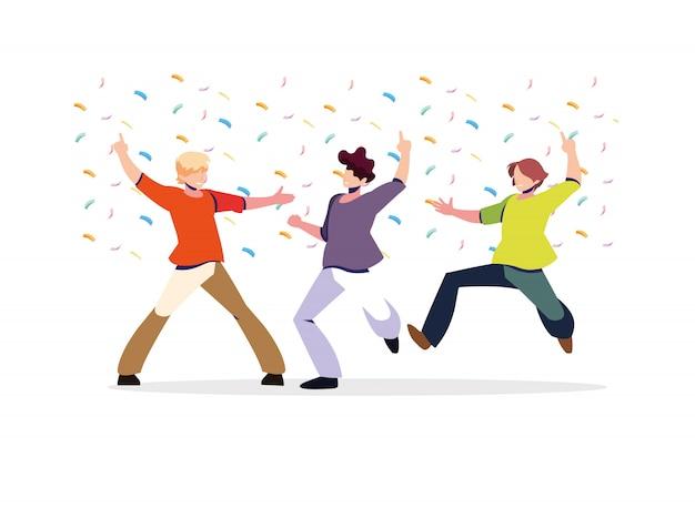 Scène van mannen in danspose, feest, dansclub