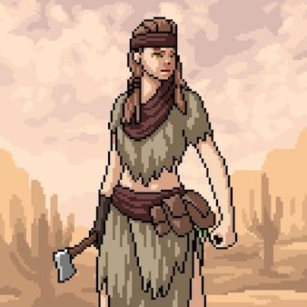 Scène van primitieve jager met pixelkunst