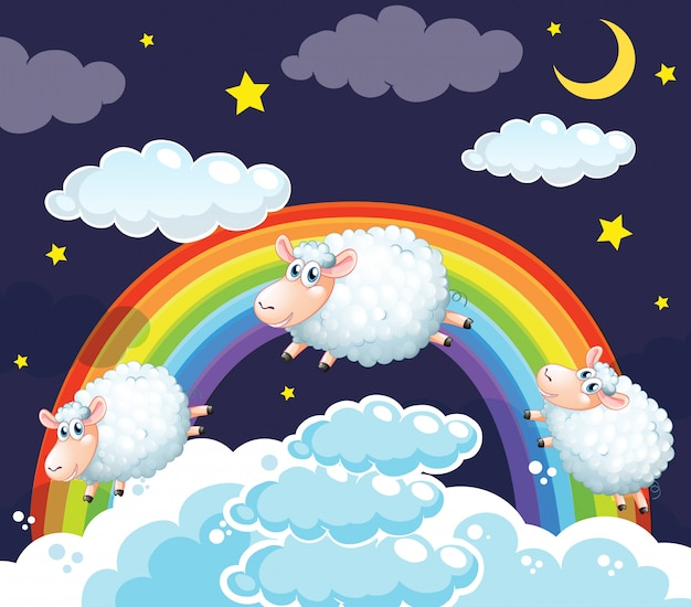 Scène van schapen springen in de wolken