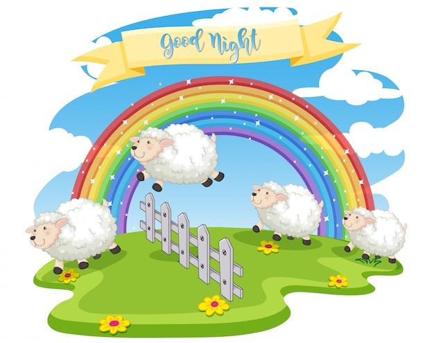 Scène van schapen springen over het hek