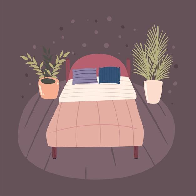 Scène van slaapkamer met bed en planten