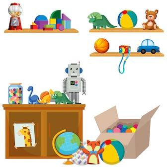 Scène van speelgoed op planken en kast