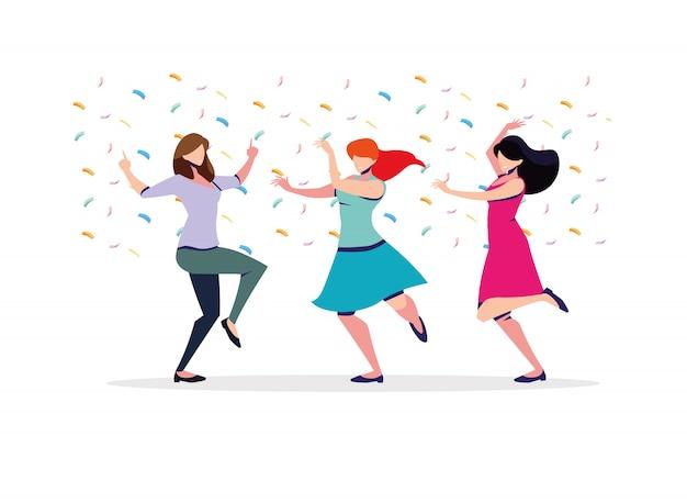 Scène van vrouwen in dans pose, feest, dansclub