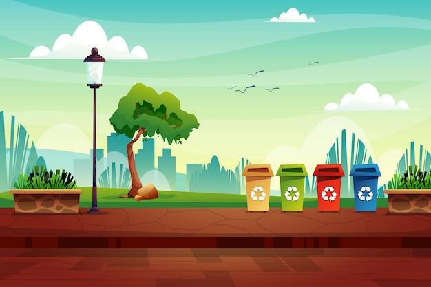 Scène van vuilnisbak op straat in natuurpark in de buurt van hoge lamp