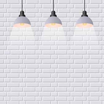 Scène verlichte schijnwerper. grijze bakstenen muurachtergrond.