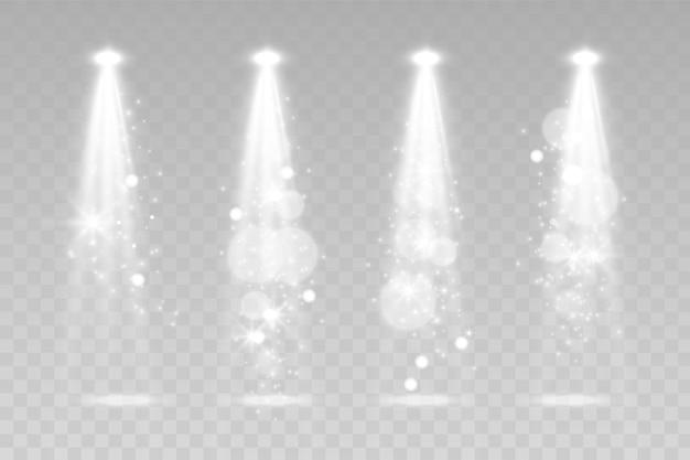 Scene verlichting collectie, transparante effecten. felle verlichting met schijnwerpers.