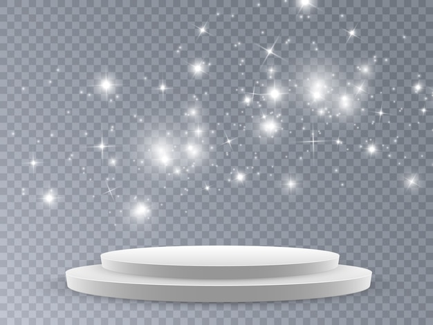 Scène voor de prijsuitreiking. podium in het licht in de sterren.