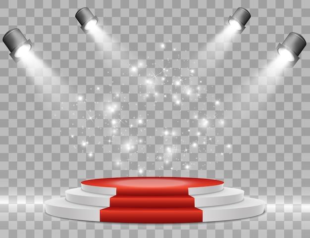 Scène voor de prijsuitreiking. voetstuk. schijnwerper. . podium in het licht in de sterren