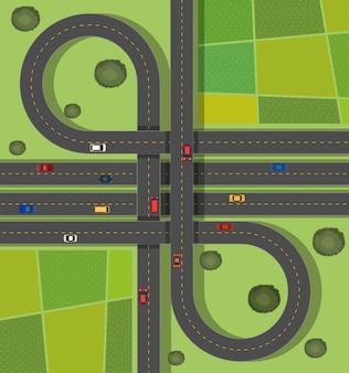 Scèneachtergrond met wegen op de straat