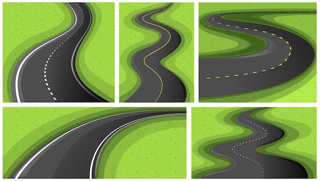 Scèneachtergronden met verschillende vormen van wegen