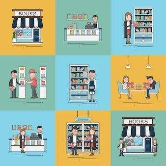 Scènes in de boekenwinkel