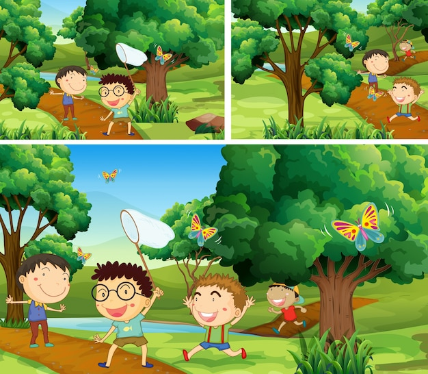 Scènes met kinderen die insecten in de tuin inhalen