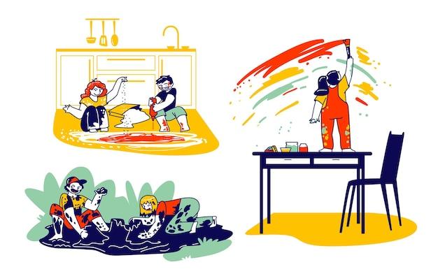 Scènes met stoute hyperactieve kinderen
