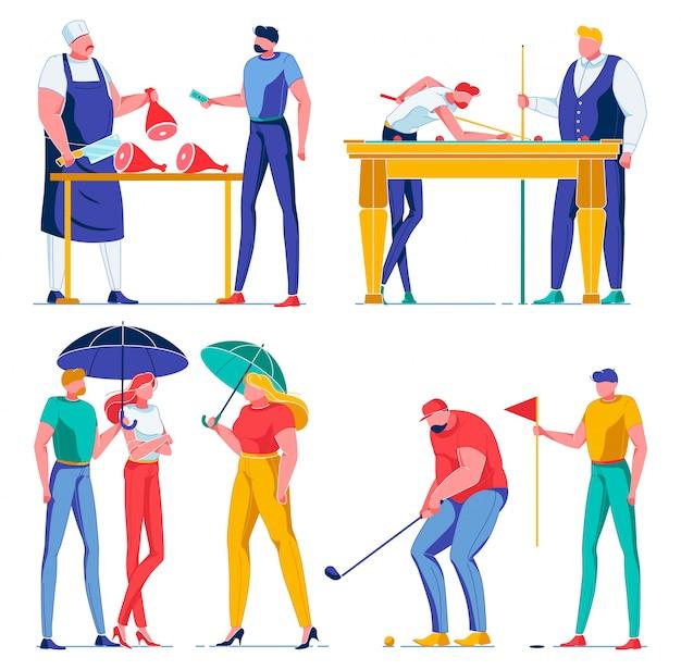 Scènes uit verschillende levenssferen met personages.