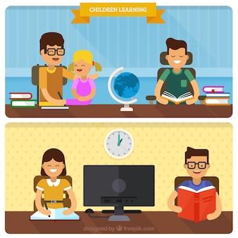 Scènes van gelukkige studenten leren
