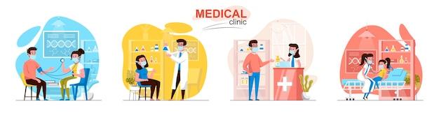 Scènes van medische klinieken in vlakke stijl