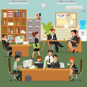 Scènes van mensen die werken op kantoor.