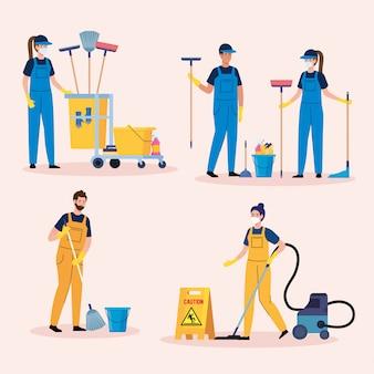 Scènes van schoonmaakdienst instellen, arbeiders van schoonmaakdienst met het ontwerp van de apparatuurillustratie