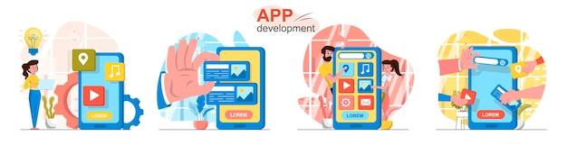 Scènes voor app-ontwikkeling in vlakke stijl