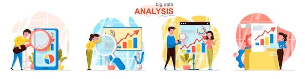 Scènes voor big data-analyse in vlakke stijl