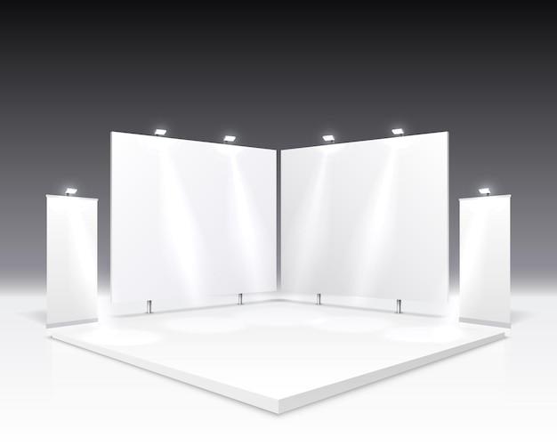 Scèneshow podium voor presentaties geïsoleerd op grijs.