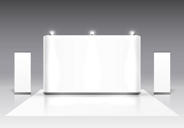 Scèneshow podium voor presentaties op de grijze achtergrond. vector illustratie