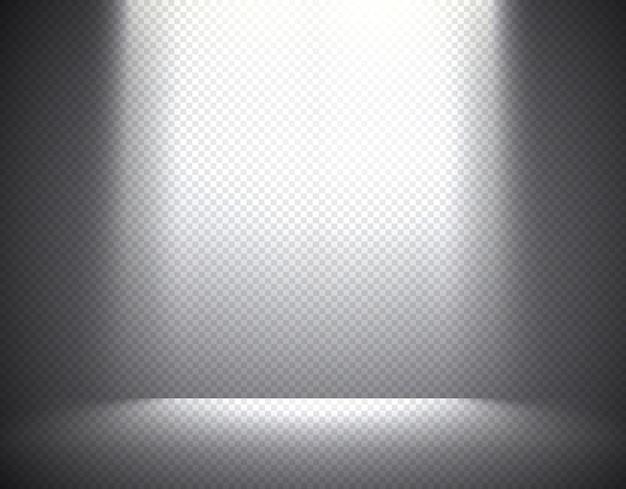 Scèneverlichting, transparante effecten op een geruite donkere achtergrond. heldere overheadverlichting.