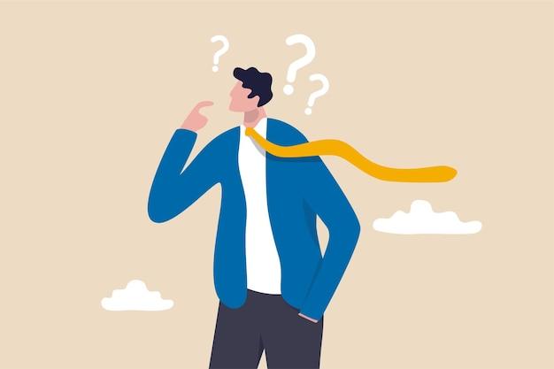 Sceptisch, wantrouwen of vragen over het concept van zakelijke deals.