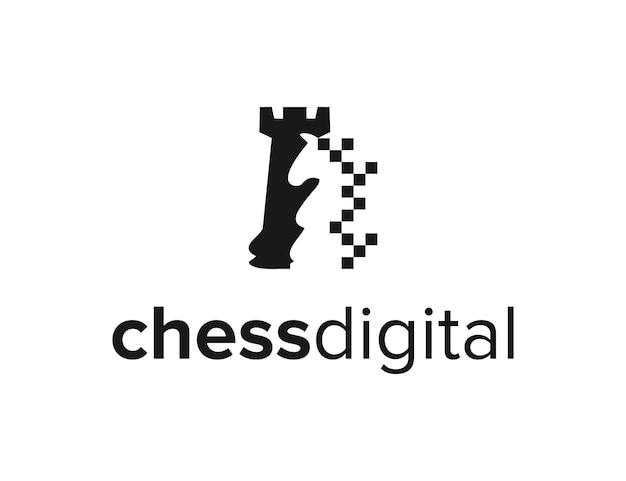 Schaak digitaal eenvoudig strak creatief geometrisch modern logo-ontwerp