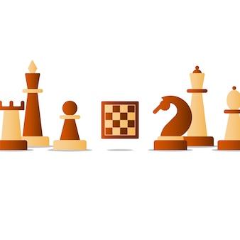 Schaakbordspel, competitieconcept, ridderpictogram, schaakclubillustratie