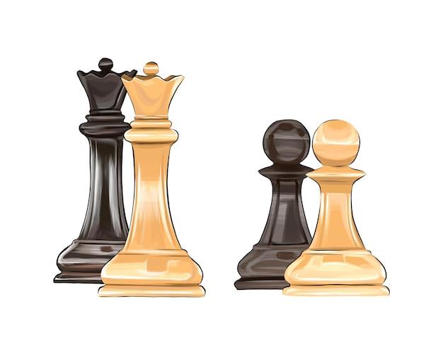 Schaakbordspel schaakstukken van veelkleurige verf splash van aquarel gekleurde tekening