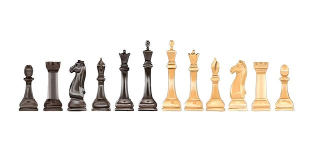 Schaakbordspel schaakstukken van veelkleurige verven gekleurde tekening realistisch