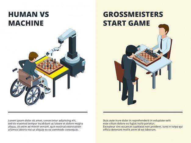 Schaakspel banners. gamers spelen op bord tactisch spel verschillende figuren toren ridder koningin intellectuele concurrentie isometrisch
