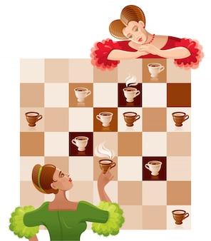 Schaakspel ceremonie met mooie vintage meisjes en koffie of thee kopjes op het bord.