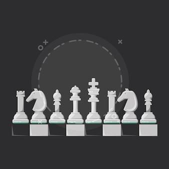 Schaakspel ontwerp met stukken