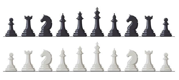 Schaakspel. zwart-wit schaakstukken, koning, koningin, loper, toren, paard en pion