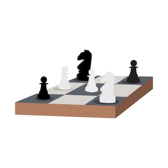 Schaaktafel. ridder en pion platte vectorillustratie