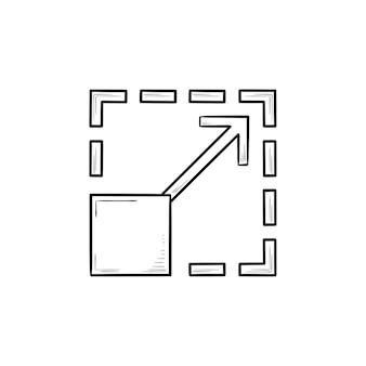 Schaalbaarheid hand getrokken schets doodle pictogram. grootte uitbreiden en vergroten, vergroten en aanpassen concept