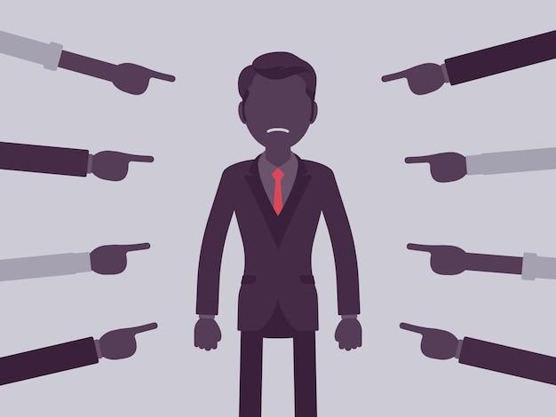 Schaam je, schuldige man. mannelijke manager in pijnlijk gevoel van vernedering of leed, verkeerd dwaas gedrag, verlies van respect, oneer gewezen door vingers. vectorillustratie, gezichtsloze karakters