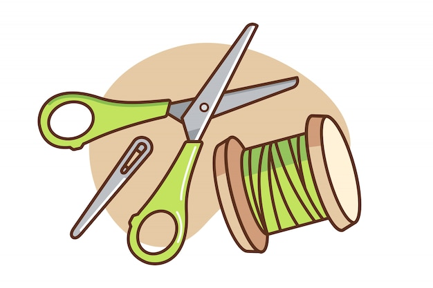 Schaar en naaigaren cartoon afbeelding