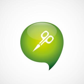 Schaar pictogram groen denk zeepbel symbool logo, geïsoleerd op een witte achtergrond