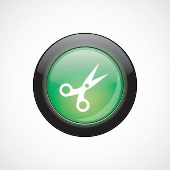Schaar teken pictogram groene glanzende knop. ui website knop