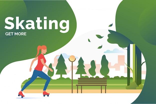 Schaatsen belettering, skater vrouw in park met verre gebouwen
