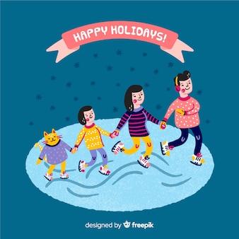 Schaatsen familie kerst achtergrond