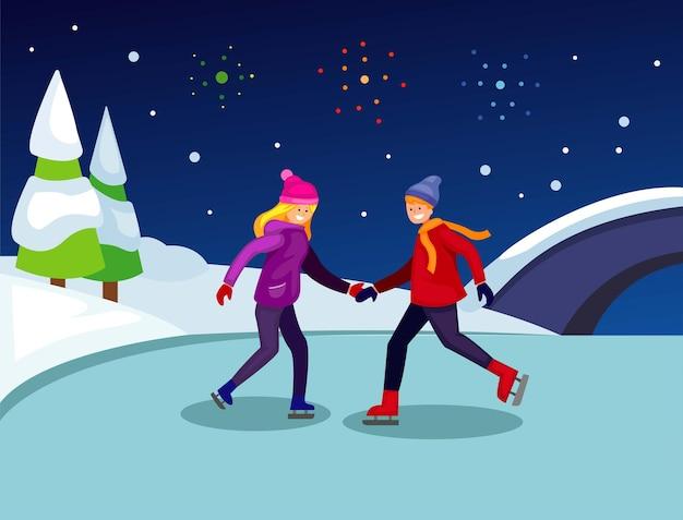Schaatsen in bevroren rivier met vuurwerk kerstmis en nieuwjaar seizoen illustratie vector
