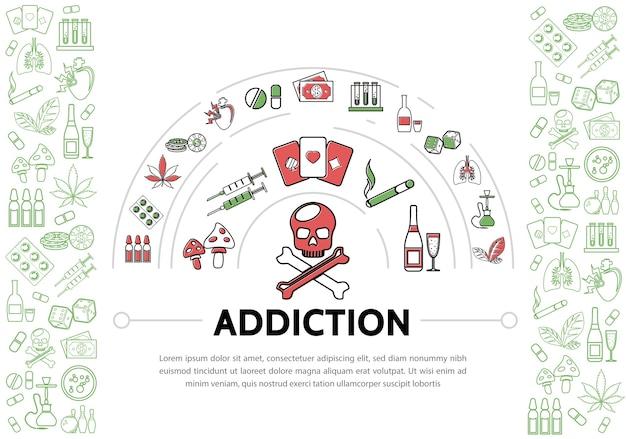 Schadelijke verslavingen sjabloon met schedel buizen, drugs, tabak, marihuana, bladeren, chips, geld, speelkaarten