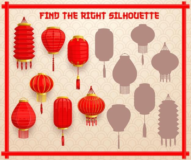 Schaduw bijpassende raadsel voor kinderen met chinese papieren lantaarns