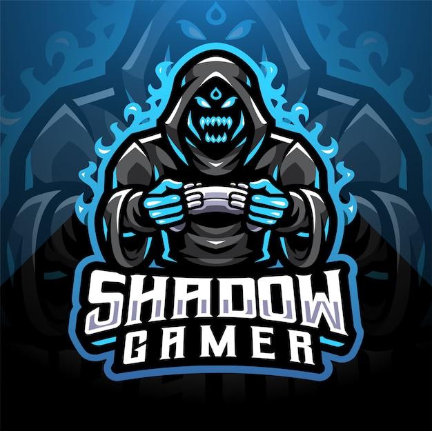 Schaduw gamer esport mascotte logo ontwerp