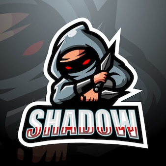 Schaduw mascotte esport logo ontwerp