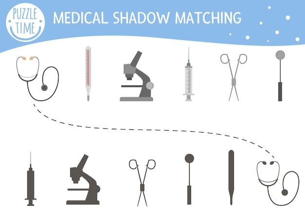 Schaduw matching-activiteit voor kinderen met medische apparatuur